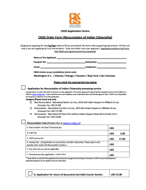 Ckgs Order Form Renunciation Of Indian Citizenship - Fill Online ...