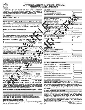 north carolina lease language form