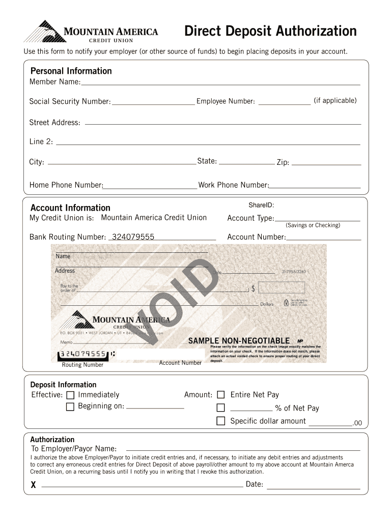 deposit form from bank  Mountain America Routing Number - Fill Online, Printable ...