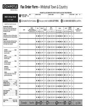 chipotle order form Chipotle Fax Order Form - Fill Online, Printable, Fillable, Blank ...