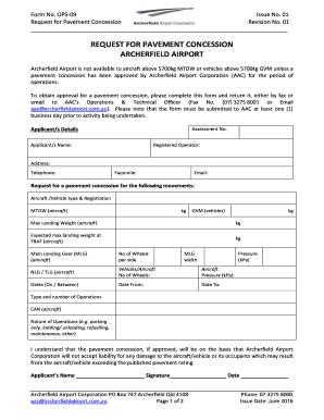 Fillable Online Pavement Concession Request form ...