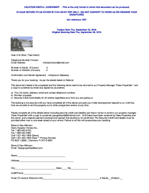 VACATION RENTAL AGREEMENT - This is the only format in which ...