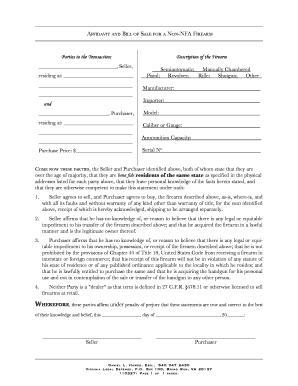 Is The Affidavit And Bill Of Sale For Non Nfa Firearm Legitimate   Fill  Online, Printable, Fillable, Blank | PDFfiller