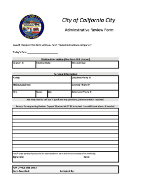 Fillable Online Administrative Citation Review Form - California ...
