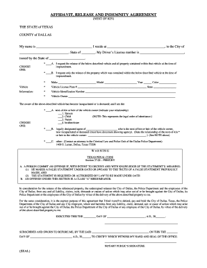 AFFIDAVIT RELEASE AND AND INDEMNITY AGREEMENT