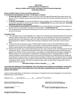 Accident Waiver And Release Of Liability Form Templates