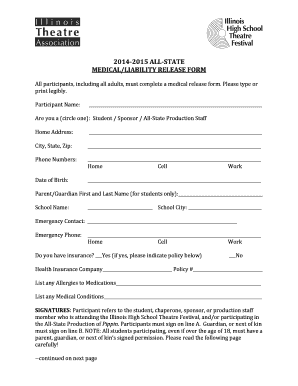 Fillable Online 2014-2015 All-State Medical/Liability Release Form ...