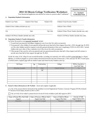 Fillable Online V1 - Standard Verification Form - Dependent ...
