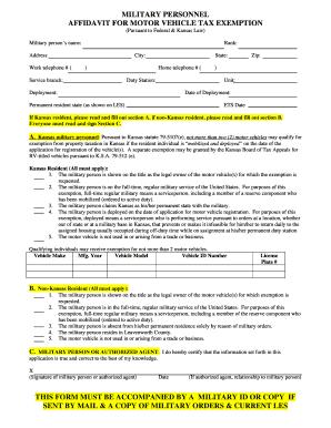 Bill Of Sale Form Kansas Military Affidavit Form Templates ...
