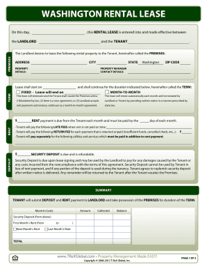 Washington Rental Lease Form - TReXGlobal.com