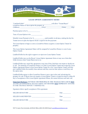 lease option memo pdf form