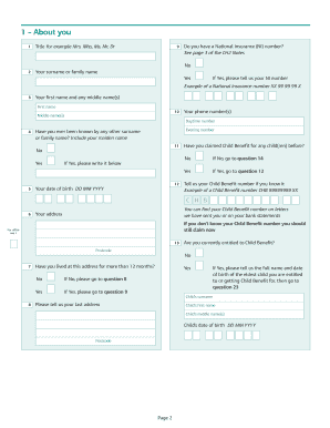 Child Benefit Form Hmrc Fill Now