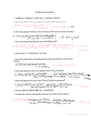 Chemistry 11 stoichiometry worksheet 2