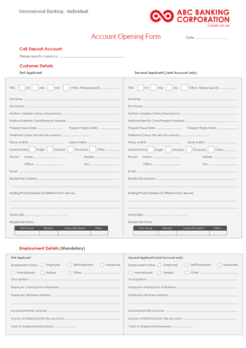 Fillable Online abcbanking Account Opening form - Individual - ABC