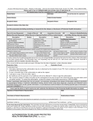 Medical Authorization Form - Texas Orthopedic Hospital