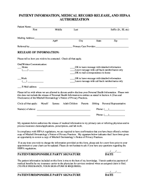 Patient Information, Medical Record Release, And Hipaa Authorization  Medical Record Release Form Template
