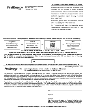 Sample Proxy Card/Voting Instruction Form - FirstEnergy