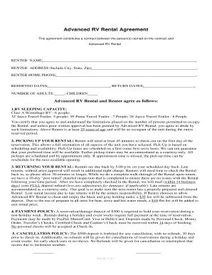 Rv Basic Rental Agreement Fill Online Printable Fillable