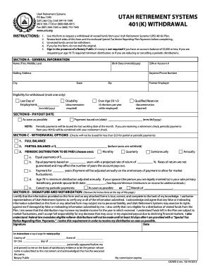 Fillable Online URS 401k Rollover Form - State of Utah Employee ...
