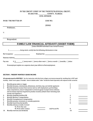 Pasco County Financial Affidavit Short Form Fill Online Printable