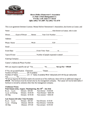 Clubhouse rental agreement form - Moose Hollow Condos