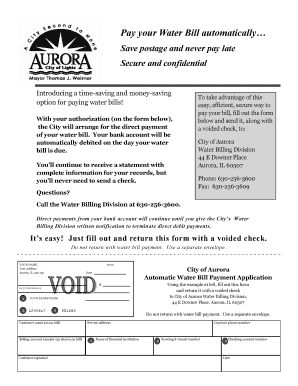 Fillable Online aurora-il Pay your Water Bill automatically - City