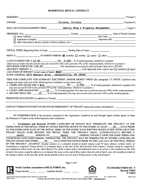 nc residential rental contract form 410 t  north carolina association of realtors standard form 410 t - Fill ...