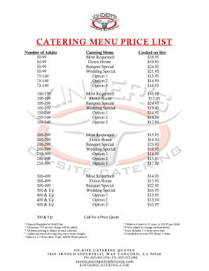 how to price a catering menu fill print download online samples