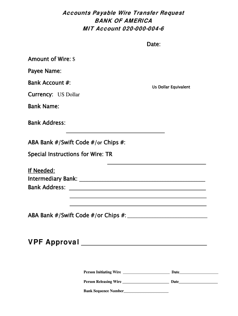 Accounts Payable Wire Transfer Request Fill Online, Printable ... on aba number for wire transfers, chase bank international wire transfers, swift code check,