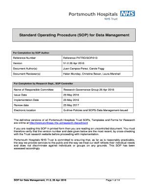 Standard Operating Procedure (SOP) For Data Management  Free Sop Templates