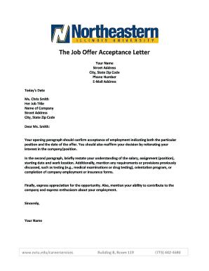 The job offer acceptance letter fill online printable fillable preview of sample altavistaventures Gallery