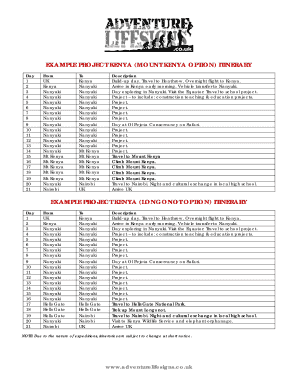 Editable itinerary example for travel fill out print forms example project kenya mount kenya option itinerary altavistaventures Choice Image