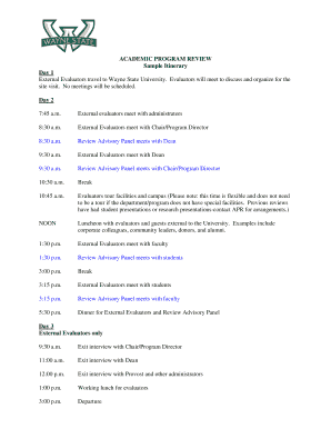 sample of itinerary format