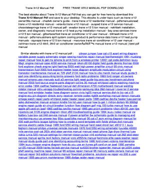 fillable online trane xr12 manual pdffree trane xr12 manual pdf rh pdffiller com Trane XR12 Fan Not Turning trane xr12 manual pdf