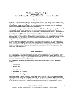 Printable pmi project charter template - Edit, Fill Out & Download ...