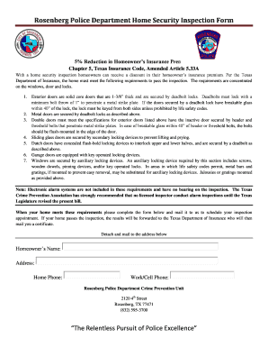 Rosenberg Police Department Home Security Inspection Form
