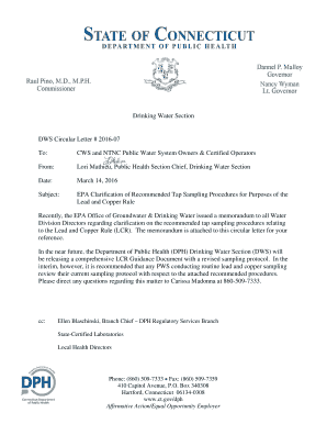 public health recommendation letter sample cws and ntnc public water system owners certified operators