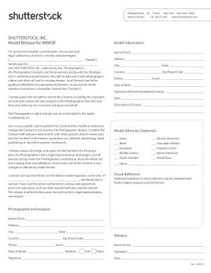 2012-2019 Form Shutterstock Model Release for Minor Fill Online
