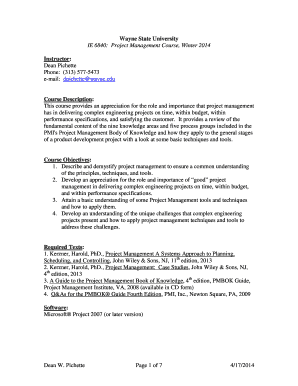 Fillable Online IE 6840 Project Management - College of