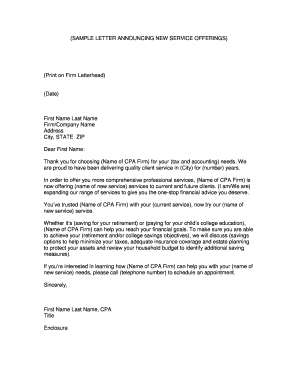 sample letter announcing new service offerings