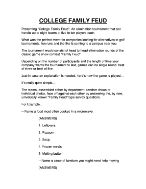 Printable how to play family feud at a party - Edit, Fill Out
