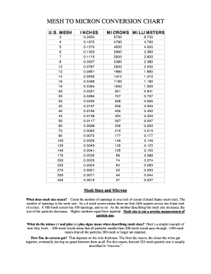 Fillable Online MESH TO MICRON CONVERSION CHART Fax Email