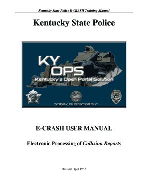 Fillable Online Kentucky State Police E-CRASH Training