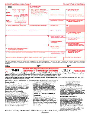 Form W-3PR 2017- Blank Sample to Fill out Online in PDF