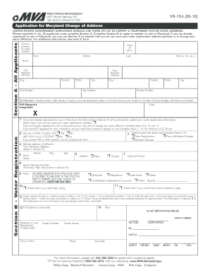 Fillable Online Application For Maryland Change Of Address Mva