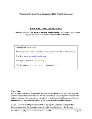 Fillable Clinical Trial Agreement Template Edit Online Download