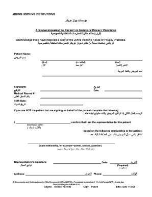 Johns Hopkins Medical Records Form