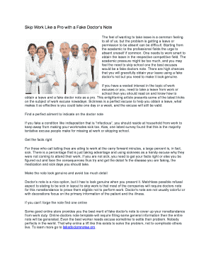 fake doctors note download