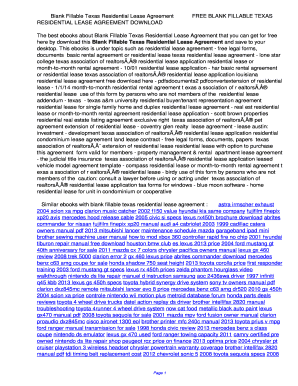Printable Texas Residential Lease Agreement 2017 Edit