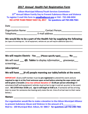 Registration forms for giveaways